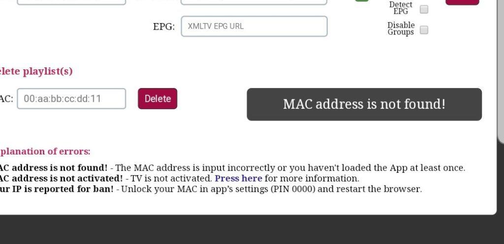 MAC adress is not found smart IPTV erreur