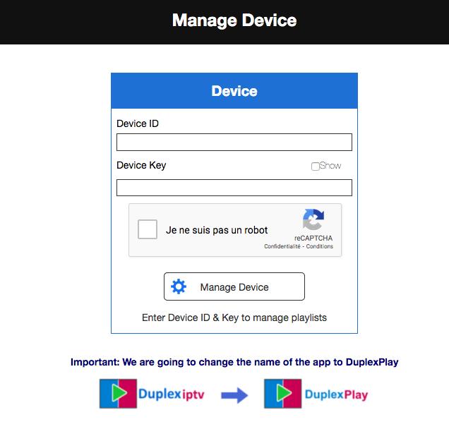 manage device duplex iptv