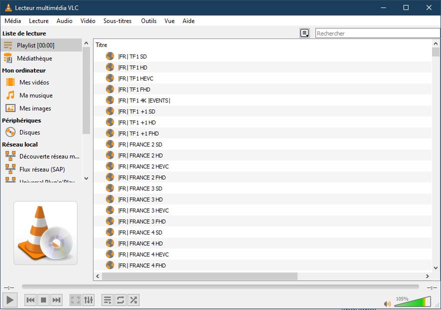 playlist VLC - iptv sur pc
